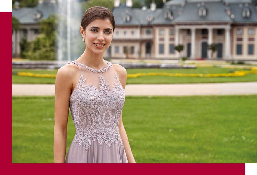 Frau in Abschlussballkleid von KLEEMEIER bei Brand-Moden Leidersbach, Kleider Abschlussball Frankfurt