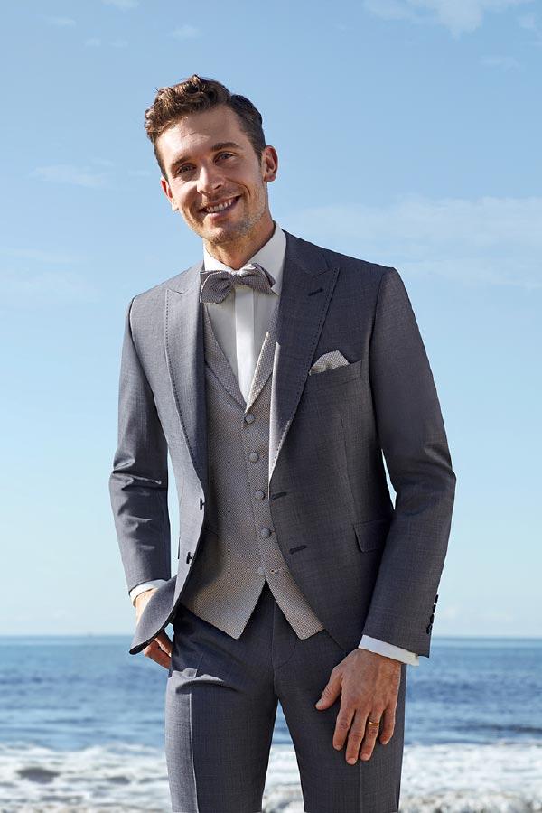 Mann in grauem Anzug von Brand-Moden Leidersbach, Hochzeitsanzüge Wiesbaden
